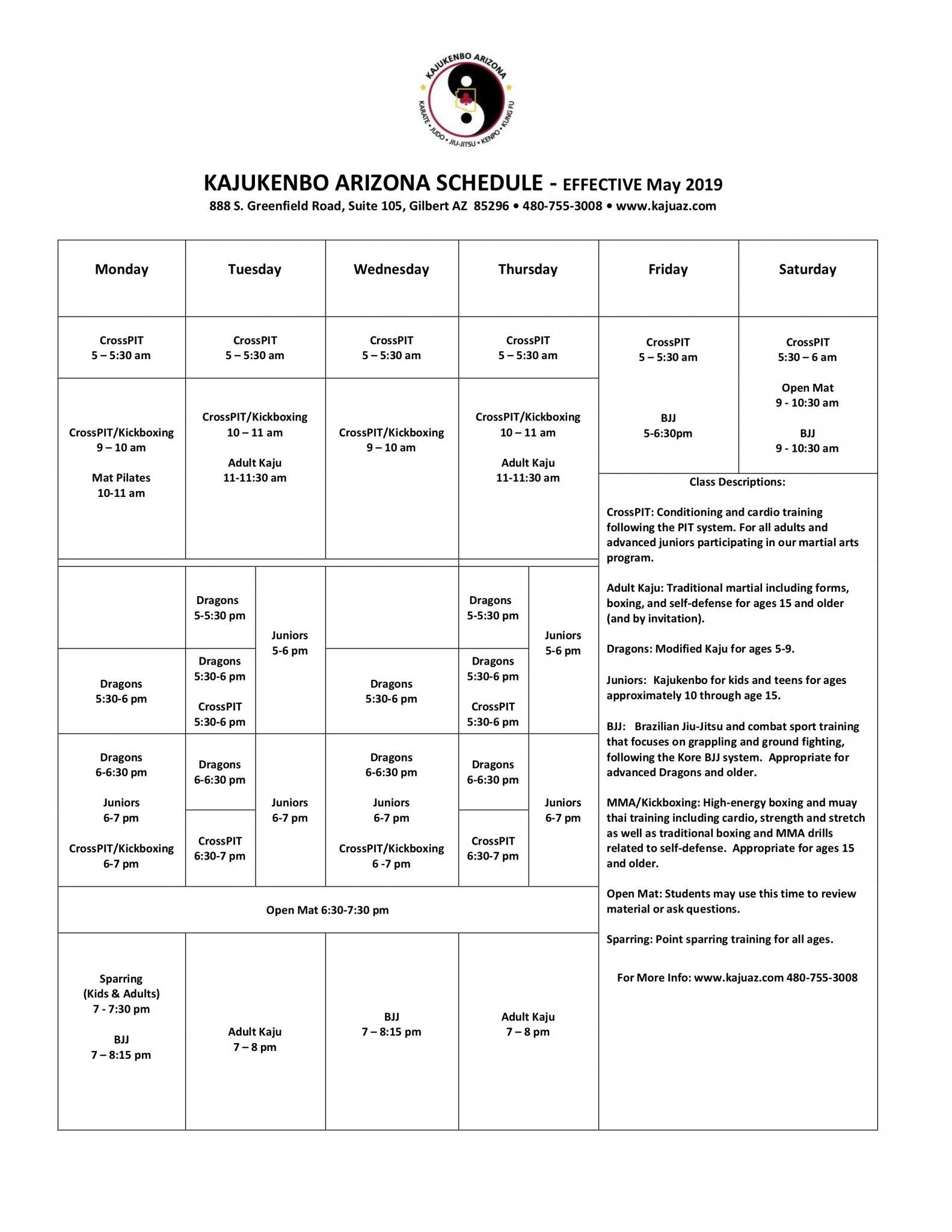 Schedule   Kajukenbo Arizona
